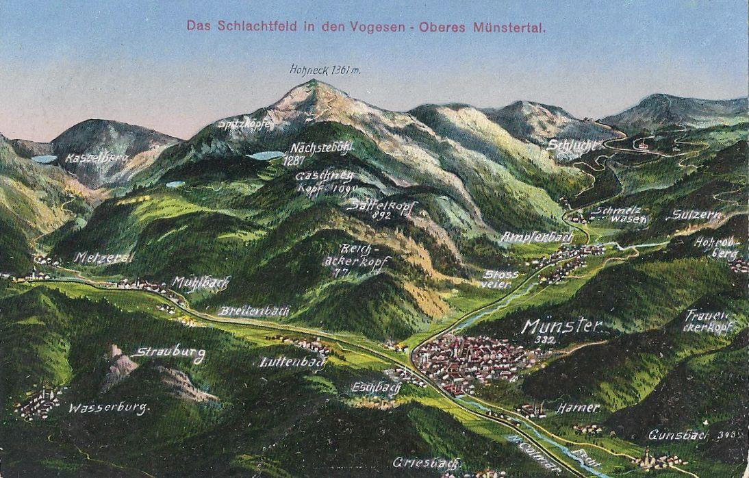 La vallée de Munster ; à gauche le Sattelkopf, à droite Sultzern (site 1914-1918.invisionzone.com)