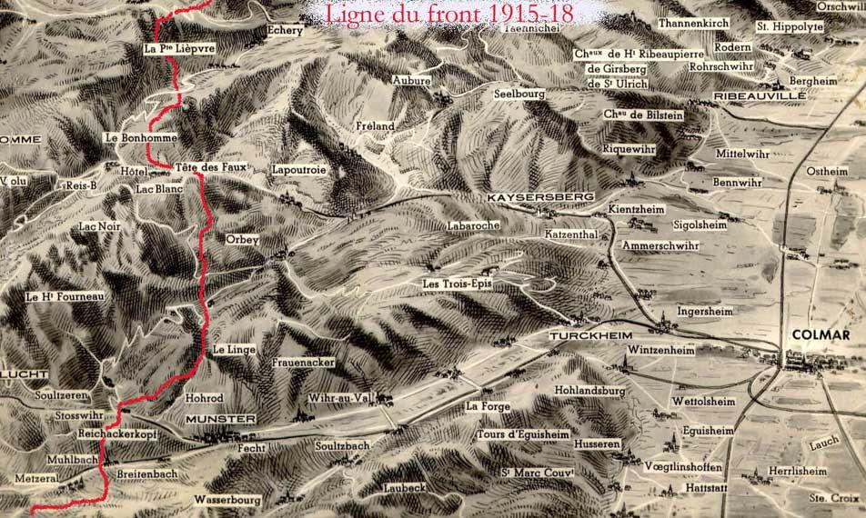 Perspective du front en 1915 ; Munster en bas à gauche (site alsace1418.fr)