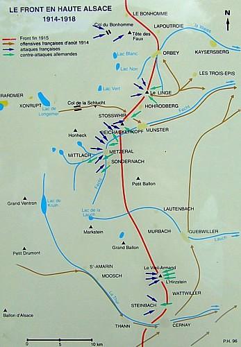Le front en Haute Alsace : la ligne rouge marque le front fin 1915 (site pierreswesternfront.punt.nl)