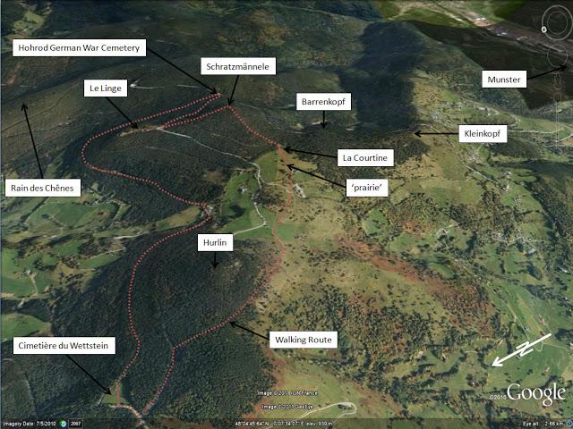 Vue aérienne du Lingekopf - Schratzmännele - Barrenkopf, Google earth (site tim-slater.blogspot.fr)