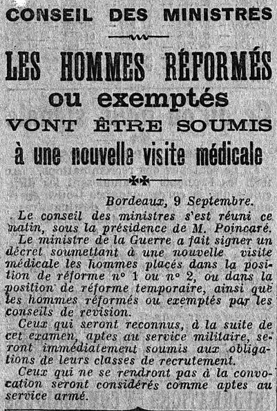 10 septembre 1914 : annonce à l'attention des hommes non encore appelés et des familles (Site geneanet.org)
