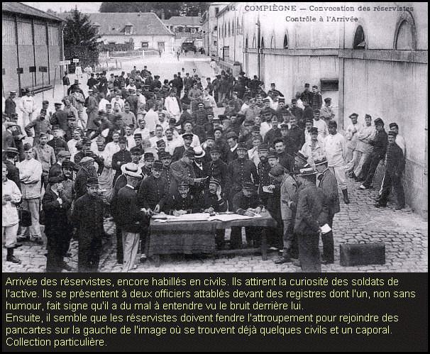 Arrivée des réservistes, habillés en civils (site combattant.14-18)