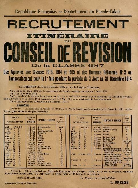 Affiche du recrutement. Itinéraire du Conseil de révision de la classe 1917 des ajournés des classes 1913, 1914 et 1915 et des hommes réformés… (site combattant.14-18)