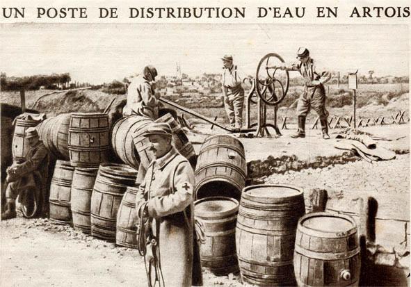 Pompage de l'eau et remplissage des barriques (Site guy.joly1.free.fr)