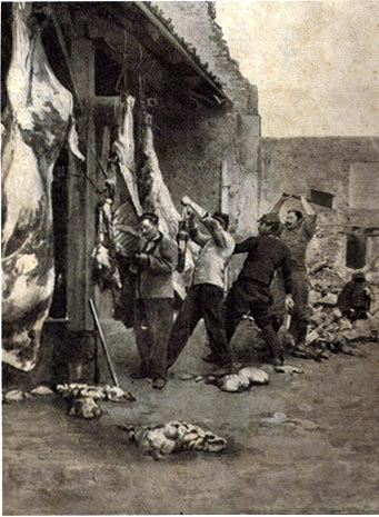 Bouchers en action sur les carcasses (Site guy.joly1.free.fr)