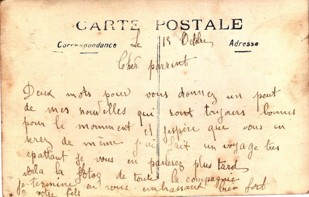 Texte de la carte envoyée par Pierre Perroud à ses parents un 15 octobre