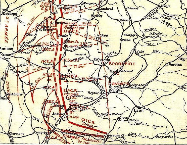 """Carte décrivant les étapes de la """"Course à la mer"""" à l'automne 1914. Détail concernant la 2e Armée du général de Castelnau et le 14e Corps d'armée dans la Somme (site 1914ancien.free.fr)"""