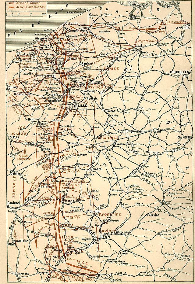 """Carte décrivant les étapes de la """"Course à la mer"""" à l'automne 1914. (site 1914ancien.free.fr)"""