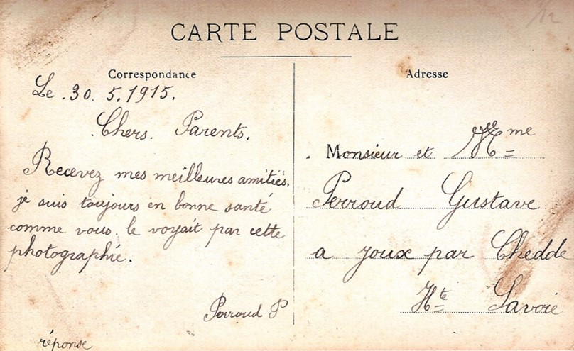 Carte envoyée le 30 mai 1915 à ses parents par Pierre Perroud, soldat au 106e RIT (Doc. Jean Perroud, archives familiales).