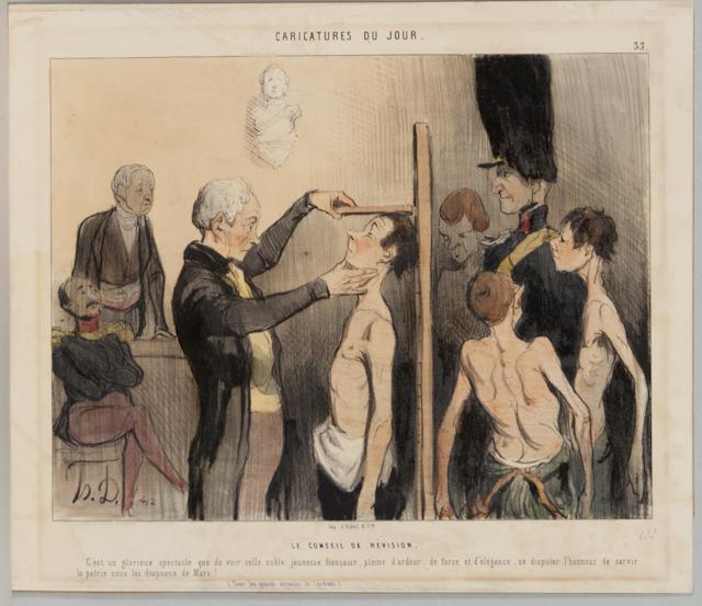 Honoré Daumier, Le conseil de révision en 1842 (site musems.fivecolleges.edu)