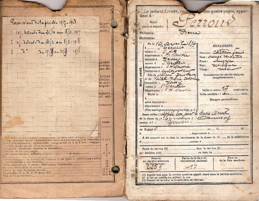 Livret militaire de Pierre Perroud, classe 1914 (Doc. Jean Perroud, archives familiales)