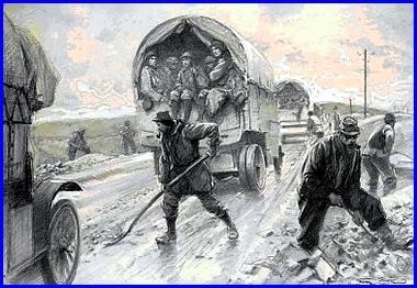 """Georges Bertin Scott (1873-1943), France, """"La Voie Sacrée, entretien de la route de Bar-le-Duc à Verdun"""" (site peinturesetpoesie.blog50.com)"""