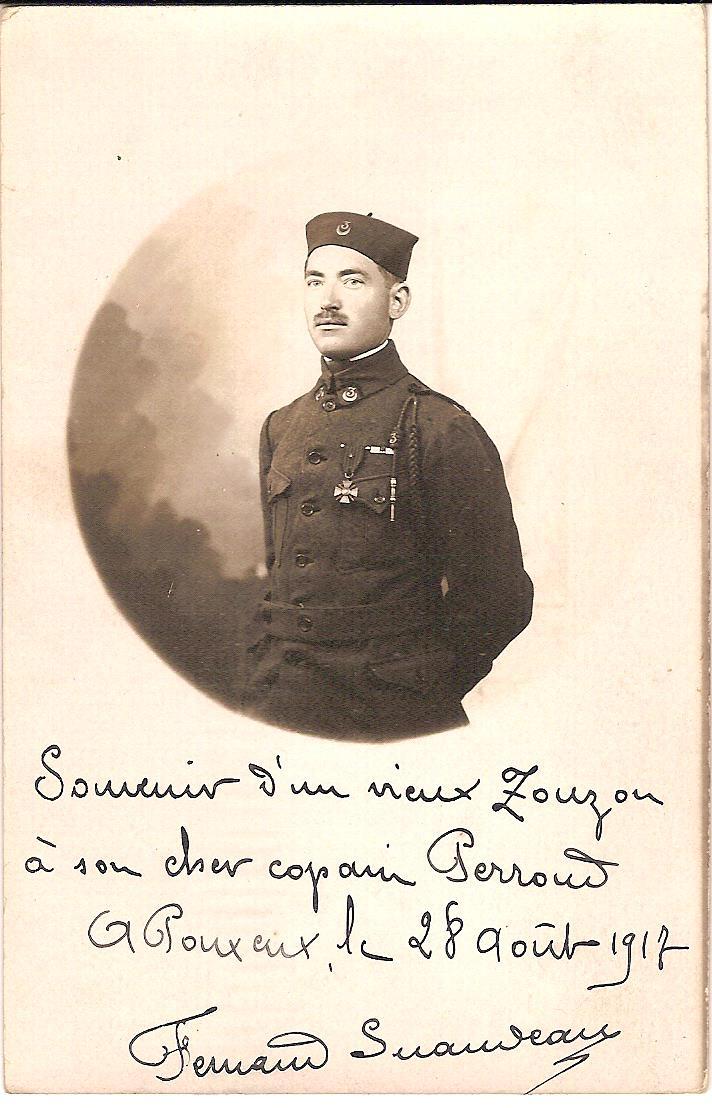 Un zouave du 3e Régiment, Fernand Suandeau, Pouxeux, le 28 août 1917 (Archives familiales de Jean Perroud)