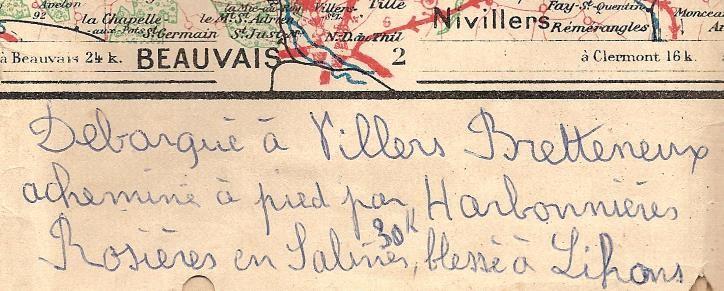 Note de la main de Pierre Perroud sur une carte du secteur nord gardée par son fils