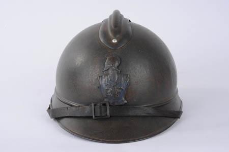Casque Adrian du Génie, avec la cuirasse et le pot-en tête