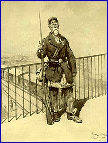 Un Territorial à la garde d'un pont de chemin de fer