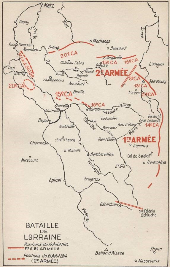 Positions du 19 au 21 août 1914 ; St-Dié, en bas à droite de la carte