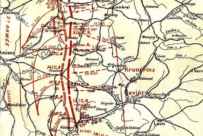 Carte des opérations du 14e C.A. fin septembre 1914 (site Wikipedia, art. Course à la mer, détail)