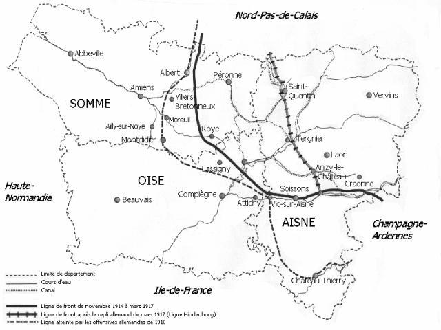 Carte des combats dans l'Oise, l'Aisne et la Somme de 1914 à 1918 ; Attichy, à l'est de Compiègne (site somme-1916.skyrock.com)