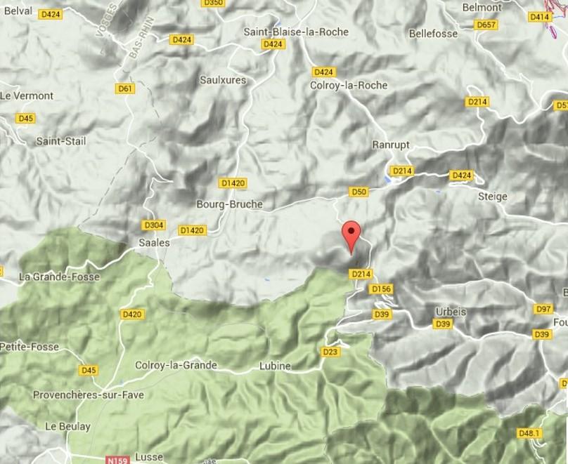 Bourg-Bruche, au centre de la carte, Urbeis en bas à droite (site massif-des-vosges.com)