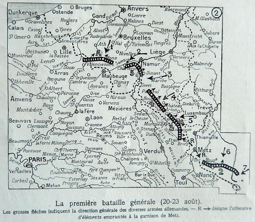 Carte du front du 20 au 23 août 1914 (Journal L'Illustration du 9 janvier 1915)