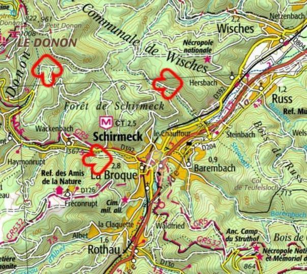 Carte Schirmeck Alsace.Jmo Du 30e Ri Combats Autour De St Die Aout Sept 1914
