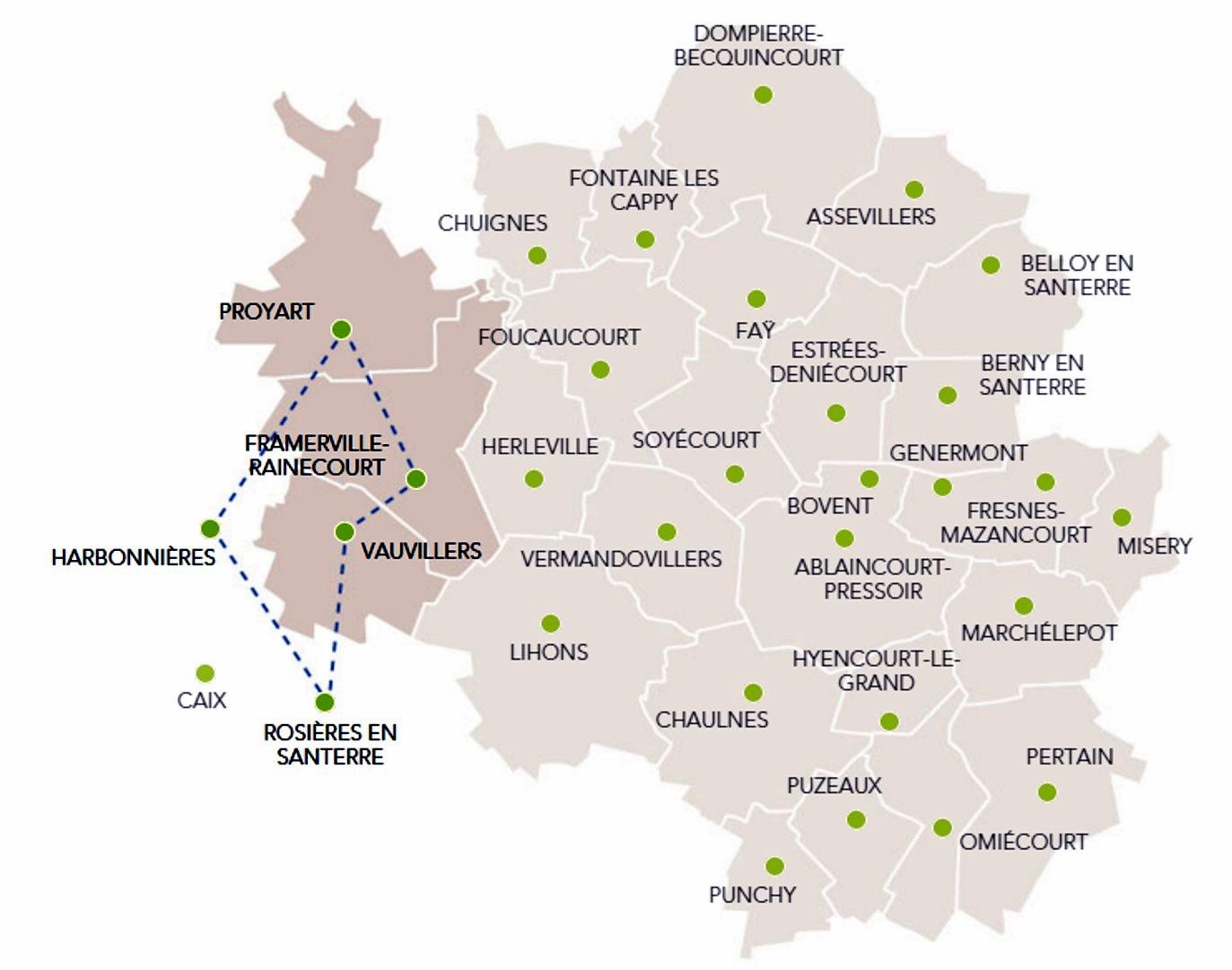 Carte du secteur de Proyart, Framerville, Rainecourt, Harbonnières (site santerre20142018.com : les circuits du bleuet)