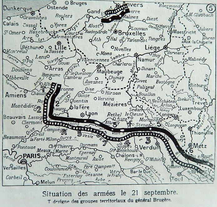 Situation des armées le 21 septembre 1914 (Journal L'Illustration du 9 janvier 1915 , doc. J.P. Morin, Passy)