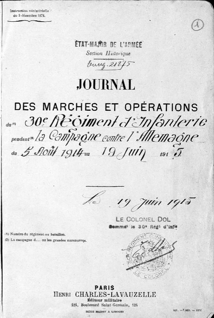 JMO du 30e RI, page 3 (site Mémoire des hommes)