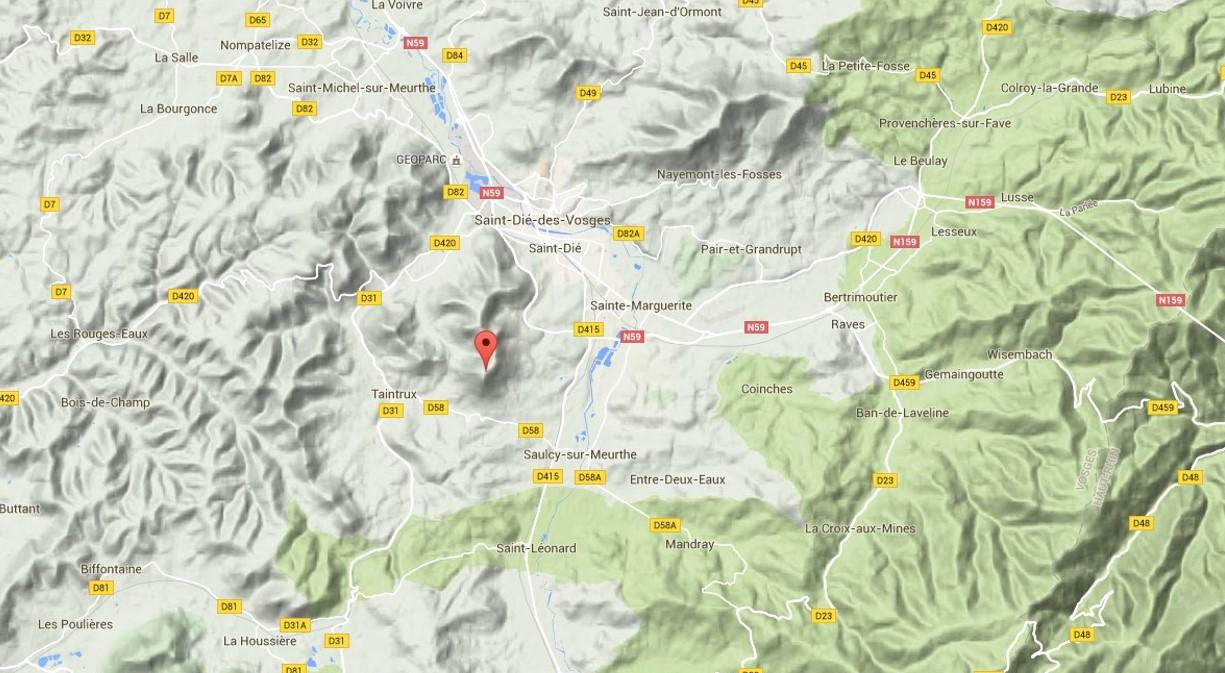 Massif du Kemberg, entre Saulcy et St-Dié (site google.fr/maps)