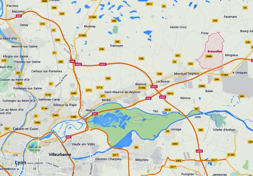 Carte situant Bressolles, Montluel, au N.E. de Lyon (Google)