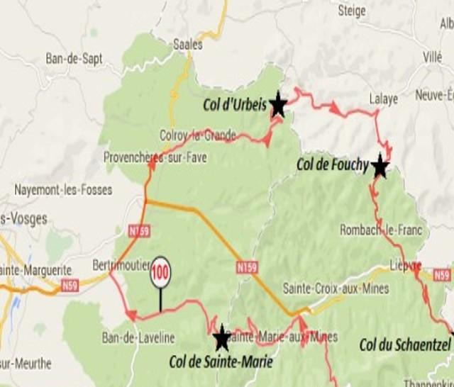Sainte-Croix-aux-Mines, en bas à droite de la carte ; Col d'Urbeis, à l'est de St-Dié, de Provenchères-sur-Fave et Colroy-la-Grande (site lesbaroudeursenvadrouille)