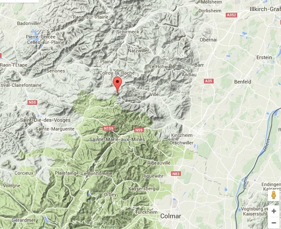 Une idée du relief de St-Dié à Schirmeck (site massif-des-Vosges)