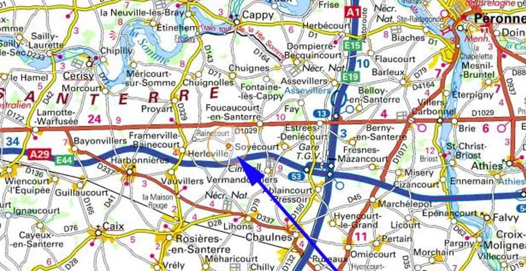 Herleville, Rainecourt, Soyécourt, Vermandovillers, Deniécourt, Ablaincourt (à gauche de l'A1) ; Berny-en-Santerre, Fresnes-Mazancourt, Marchélepot, Miséry, Cizencourt, St-Christ (à droite de l'A1)