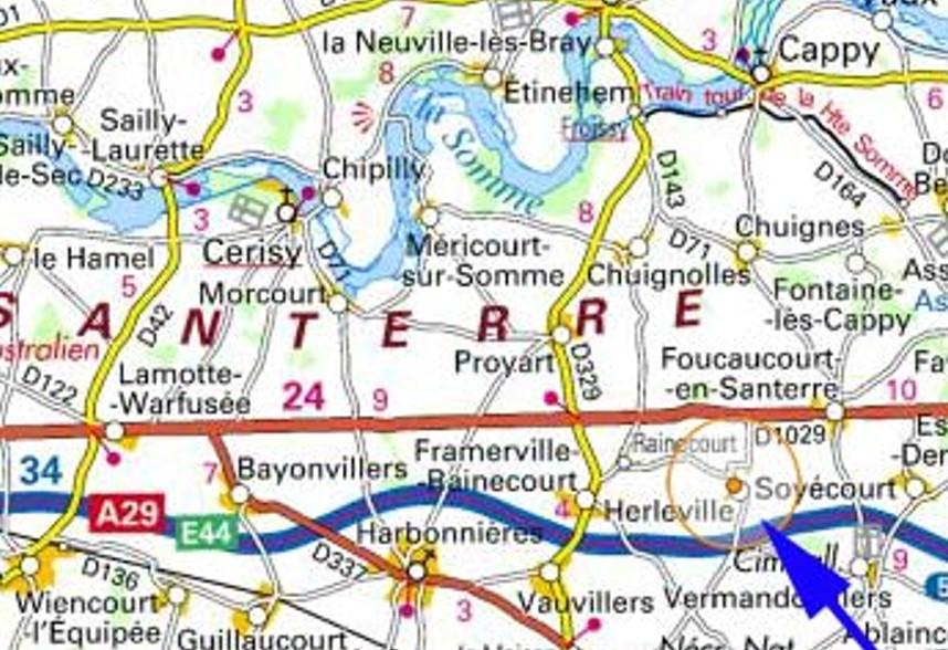 Route Framerville, Proyart ; Herleville, Rainecourt (au centre de la carte), Foucaucourt (à droite)
