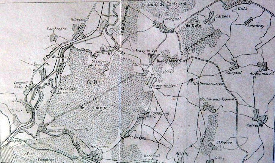 Carte de St-Crépin, Offémont, Tracy-le-Mont, Quennevières et du Bois Saint-Mard, Ollencourt extraite de l'Historique du 2ème Zouaves, à l'est de Compiègne (site gallica BNF, p. 10)