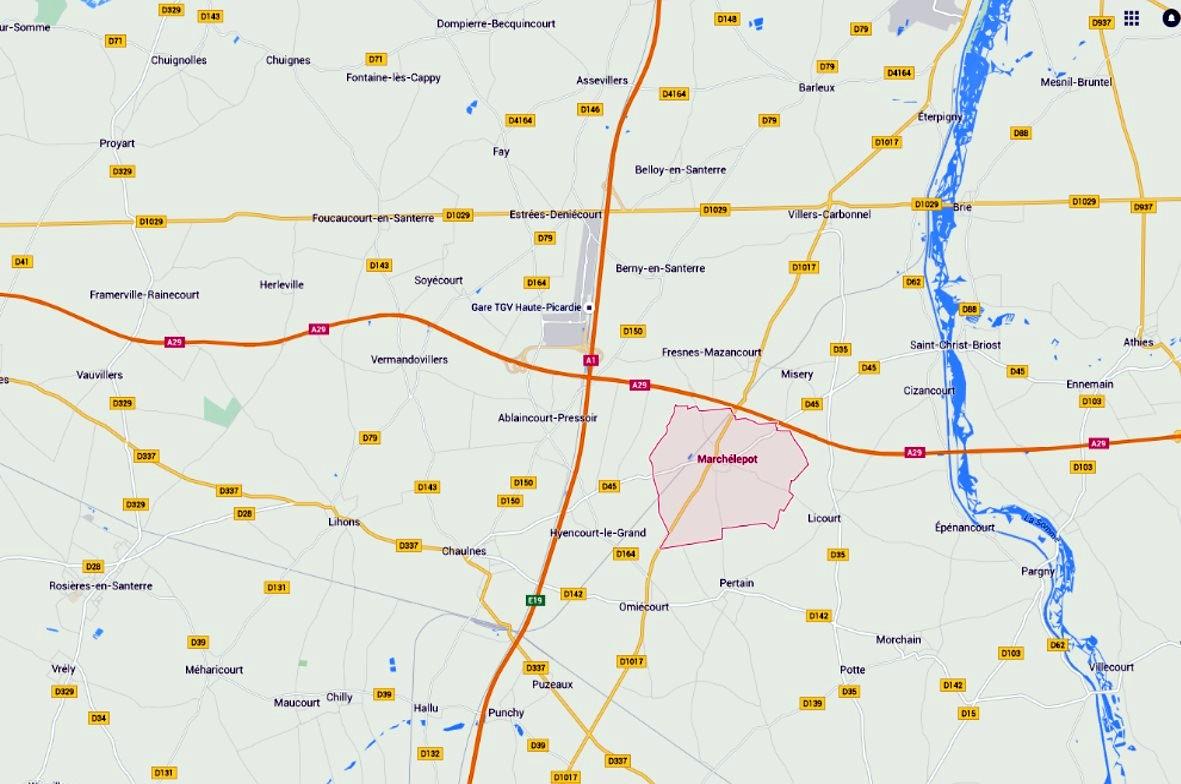 Secteur de la bataille d'Herleville : Marchélépot (source Google)