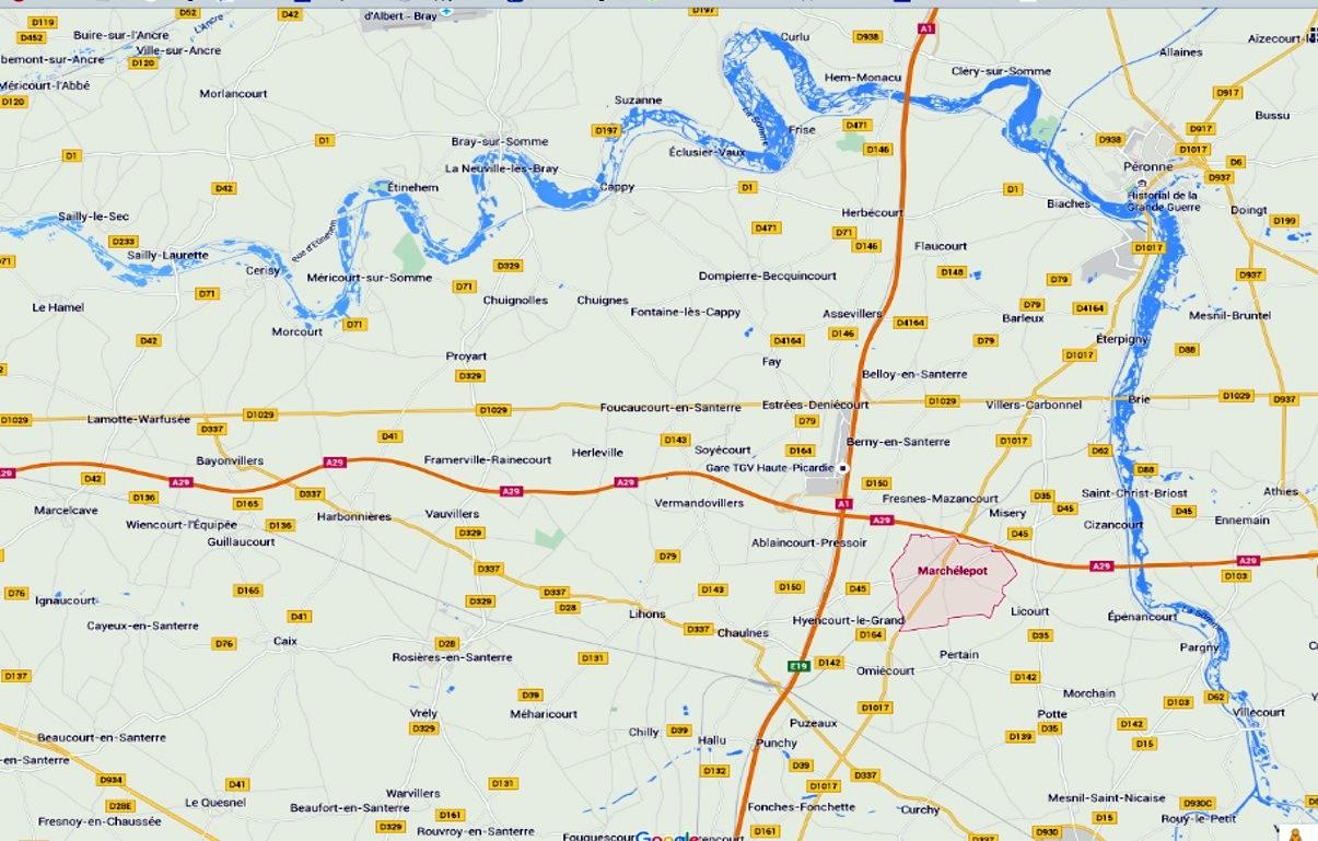 Secteur de la bataille d'Herleville dans la courbe de la Somme (source Google)
