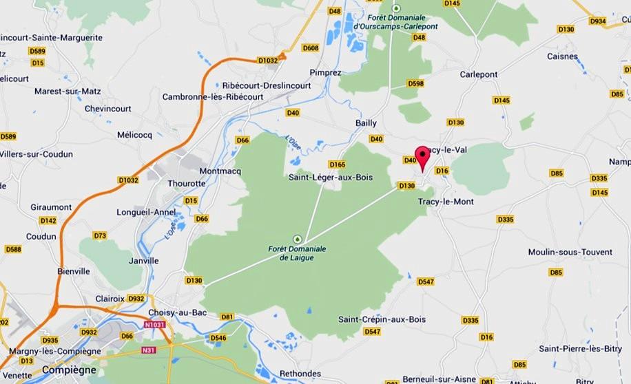 Situation de Tracy-le-Mont, Quennevières, au centre de la carte (carte Google)