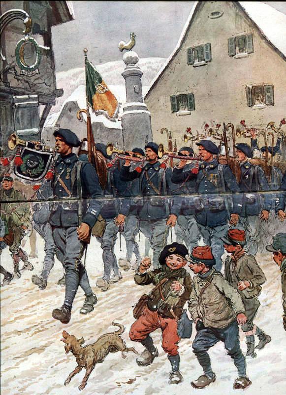Chasseurs du 11e BCAP à Saint-Amarin en Haute-Alsace, aquarelle de Georges Scott. (site rosalielebel75, art. troupes alpines)