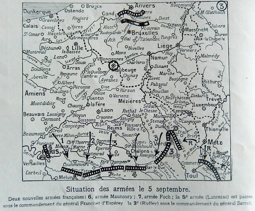 Carte du front le 9 septembre 1914 (Journal L'Illustration du 9 janvier 1915)