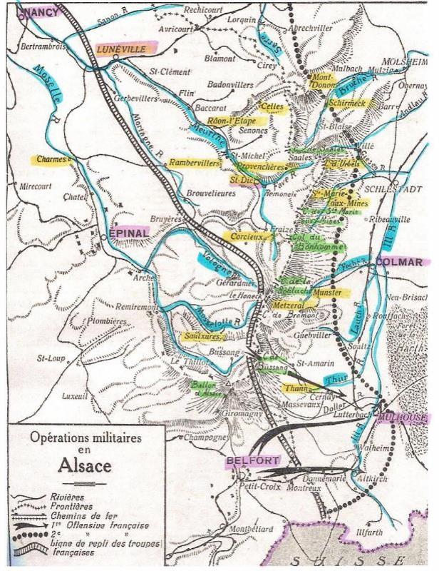 Opérations militaires en Alsace en août 1914 (source Internet)