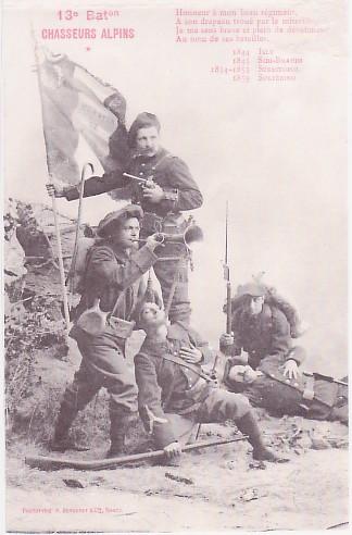 Carte du 13e Bataillon Chasseurs alpins avant la guerre : Honneur à mon beau régiment...