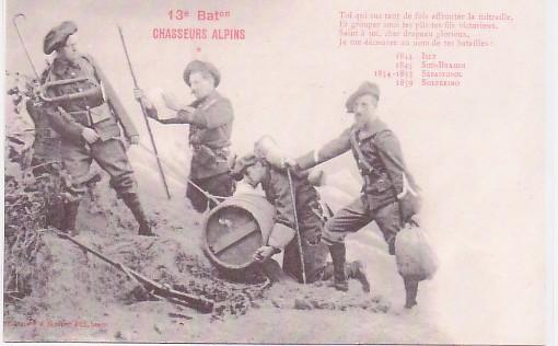 Carte du 13e Bataillon Chasseurs alpins avant la guerre : Toi qui sus tant de fois affronter la mitraille...