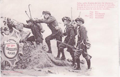 Carte du 13e Bataillon Chasseurs alpins avant la guerre : Salut, noble drapeau de mon fier régiment...