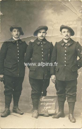 Trois chasseurs du 13e BCAP, Chambéry, le 27 septembre 1914 (Site alpins.fr)