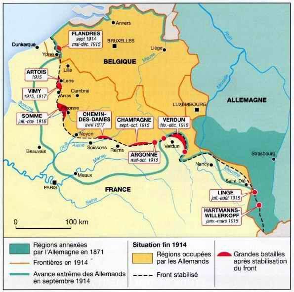Carte du front ouest fin 1914