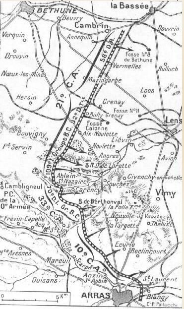 Carte du front en Artois en janvier 1915 (site chemindememoire-nordpasdecalais.fr)