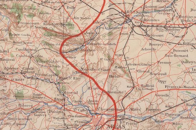 Carte du front en Artois en janvier 1915 (Doc. Jean Perroud, Passy)
