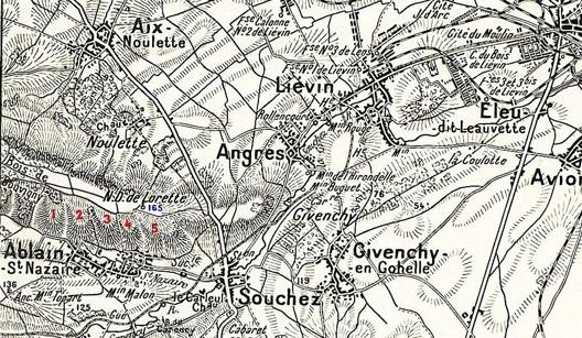 Carte Bois de Bouvigny à gauche, à l'ouest de N.D. de Lorette